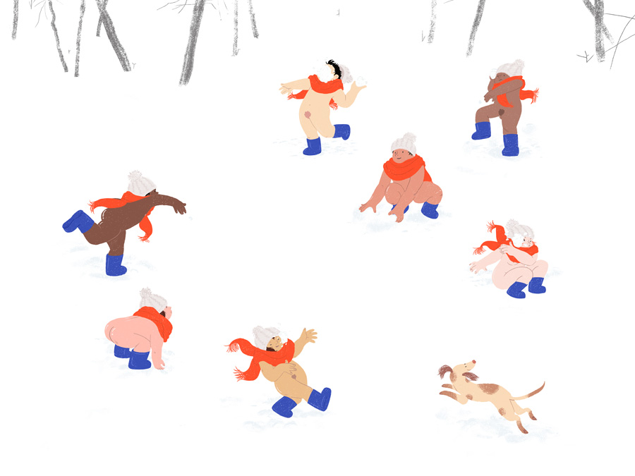 Nudist Snowball Fight by Mika Senda Illustration