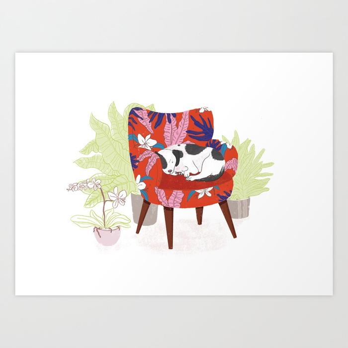 Dog in Armchair Print, by Mika Senda Illustration